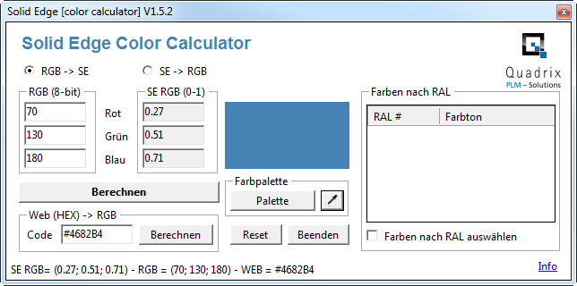 Ral Farben Rgb.Solid Edge Color Calculator Cad Helpdesk Ch Solid Edge
